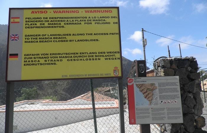 Aviso de peligro antes de iniciar la ruta del barranco de Masca