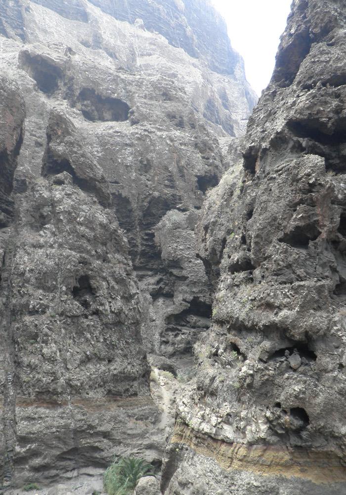 Erosión de la roca del barranco de Masca