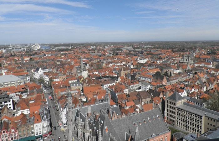 Vista de Brujas desde la Torre del Campanario qué ver en Brujas en un día