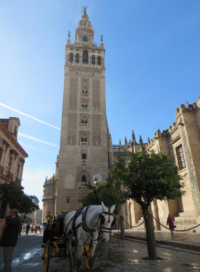 Giralda y una calesa monumentos de Sevilla