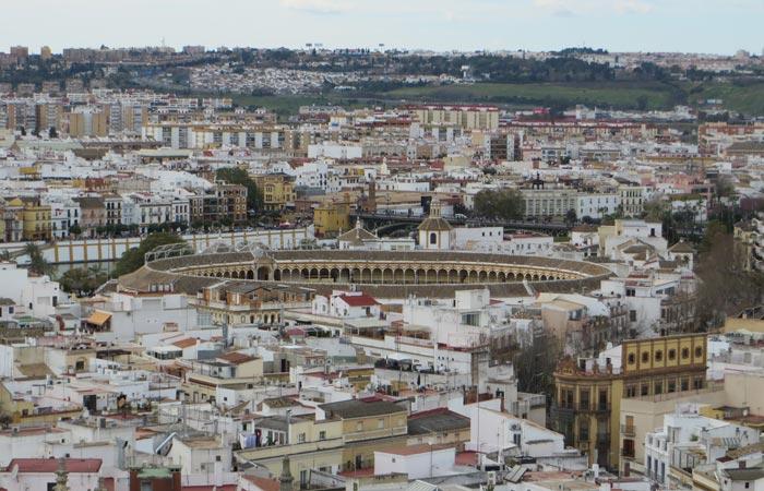 Vista de la Real Maestranza desde la Giralda monumentos de Sevilla