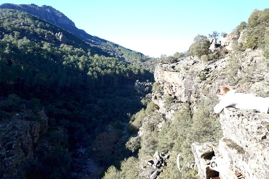 Vistas desde el Canchal de las cabras pintadas cascada del chorro de las batuecas