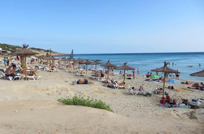 Sombrillas y hamacas en Caló des Mort Playas de Formentera