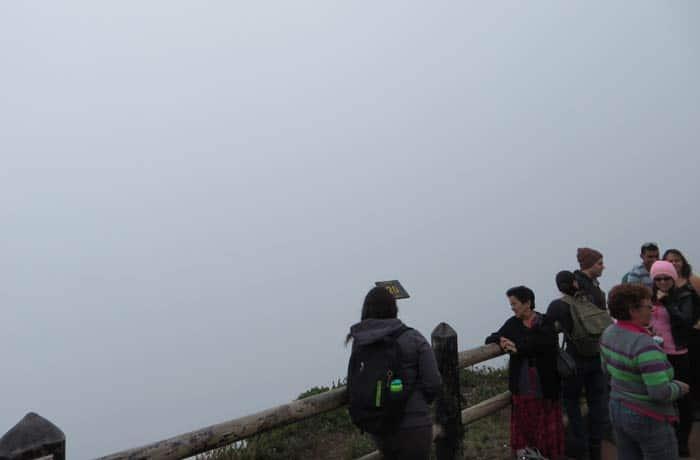 Mirador del cráter del Volcán Poas con ninguna visibilidad