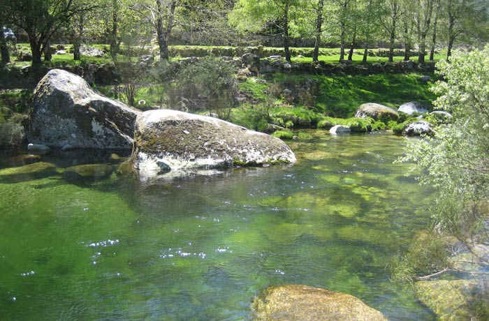 Río Zezere en el coto de pesca deportiva Sierra de la Estrella