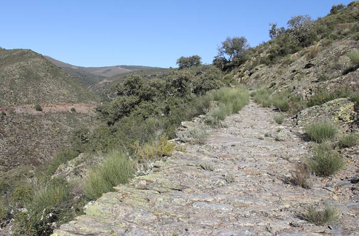 Sendero empedrado del tramo entre Valero y San Miguel de Valero Camino de los Trasiegos
