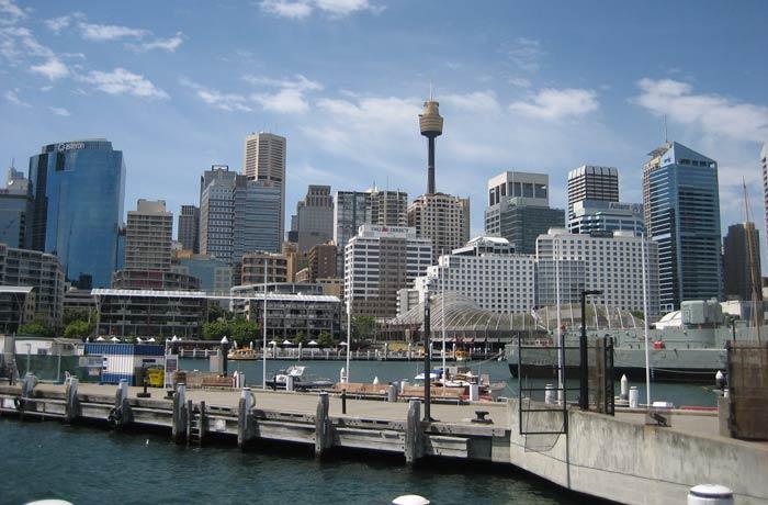 Vistas de los rascacielos de Sídney desde el Darling Harbour
