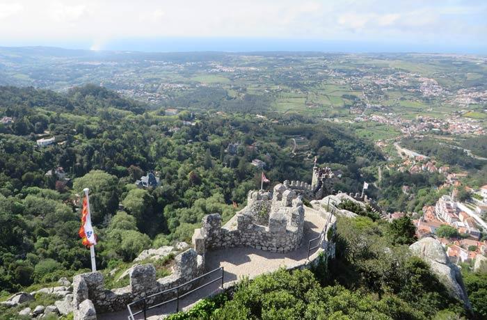 Vista del Castelo dos Mouros desde la Torre Real qué ver en Sintra