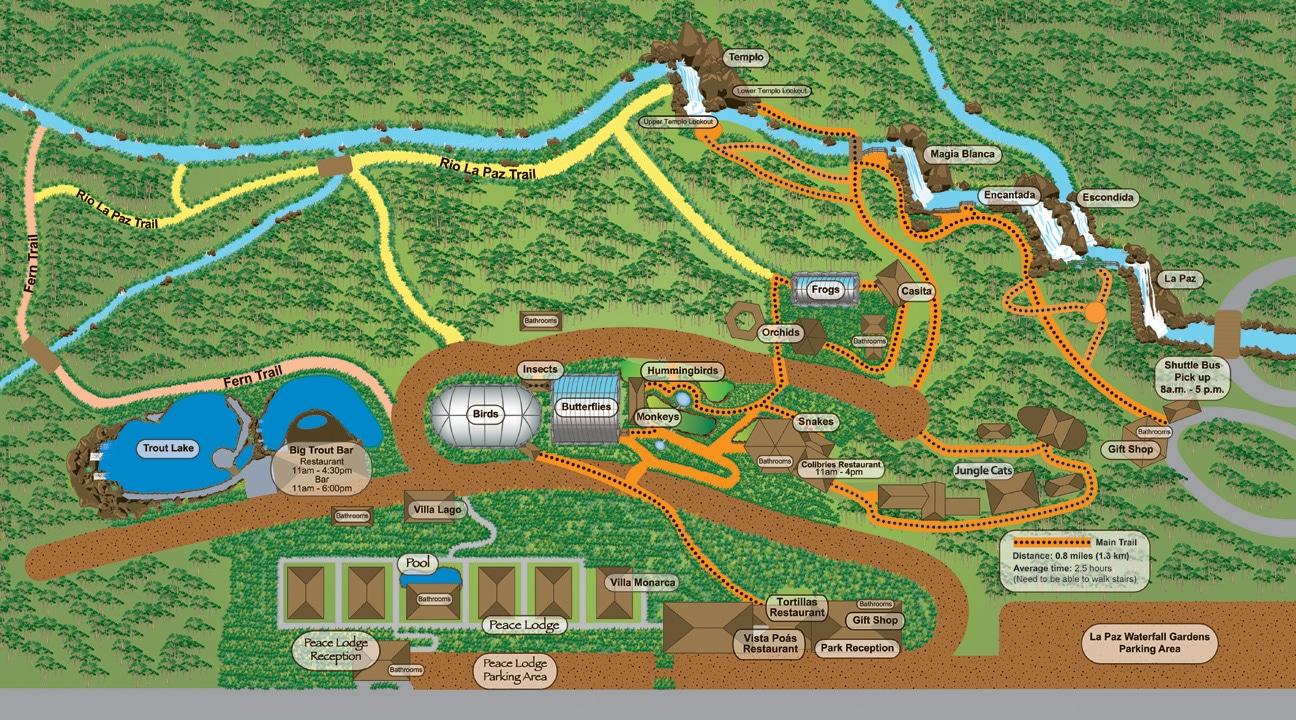 Plano del complejo de las Cataratas de La Paz