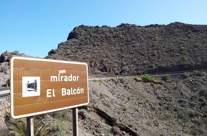Señalización del mirador de El Balcón qué ver en Gran Canaria