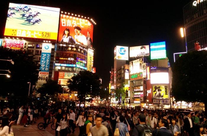 Ambiente a la salida de la estación de Shibuya