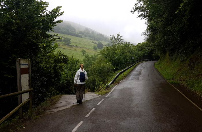 Desvío para tomar la senda de Valdolayés tras pasar Pedroveya