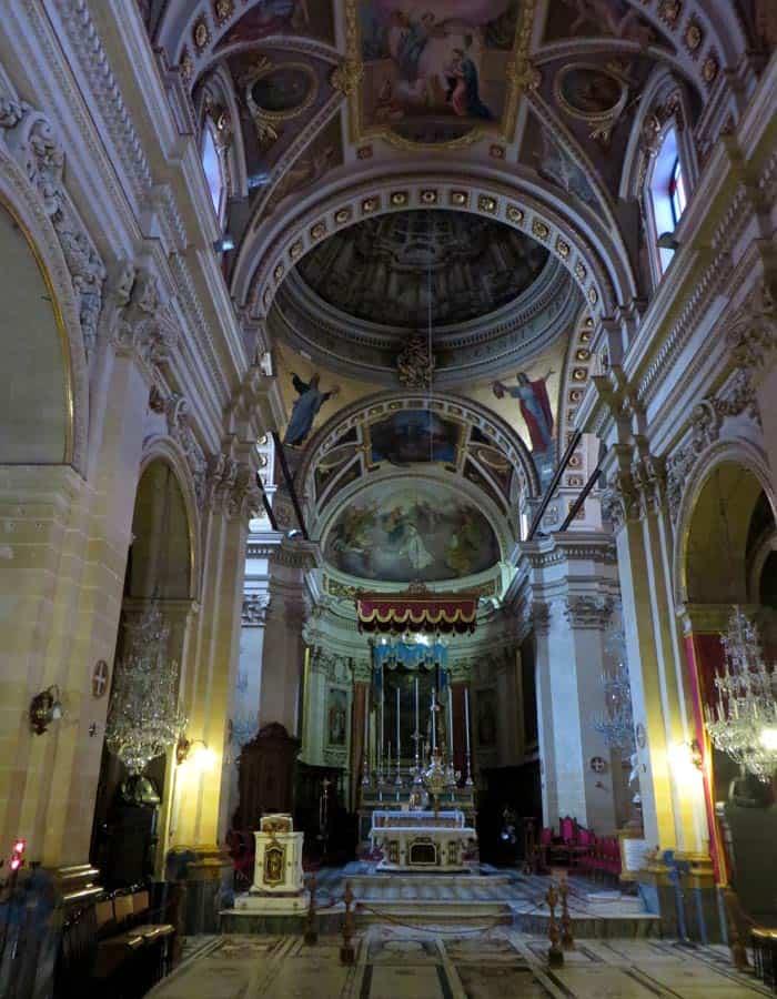 Interior de la Catedral de Victoria que ver en Gozo