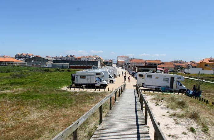 Zona de caravanas en la playa de Costa Nova