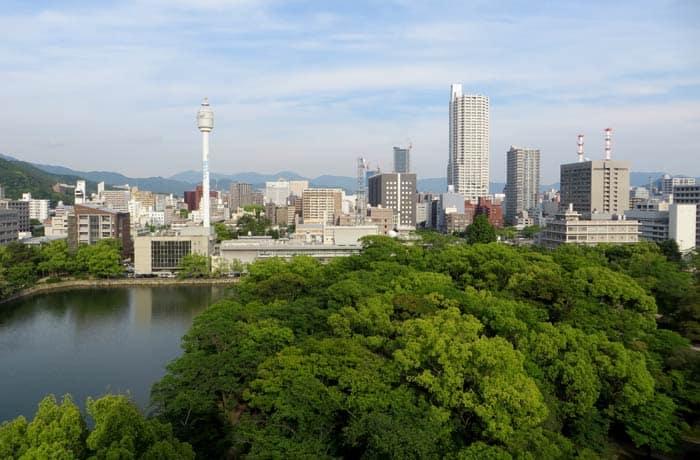 Vistas desde la torre del Castillo de Hiroshima