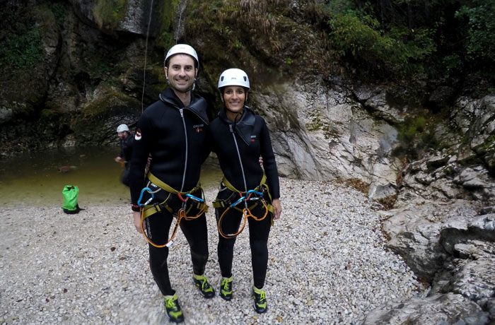 Sin disumular el entusiasmo al finalizar la actividad barranquismo en Bled