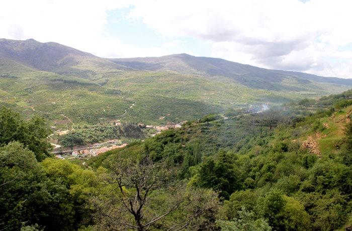 Vista del valle del Jerte desde la ruta