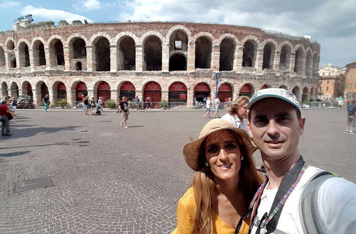 Selfie ante la Arena de Verona