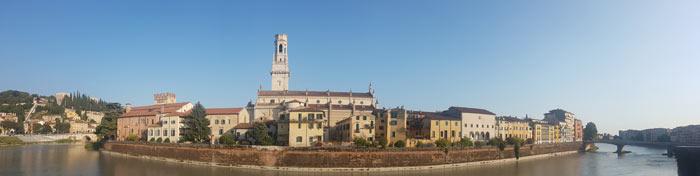 Vista del Doumo de Verona desde el otro lado del río